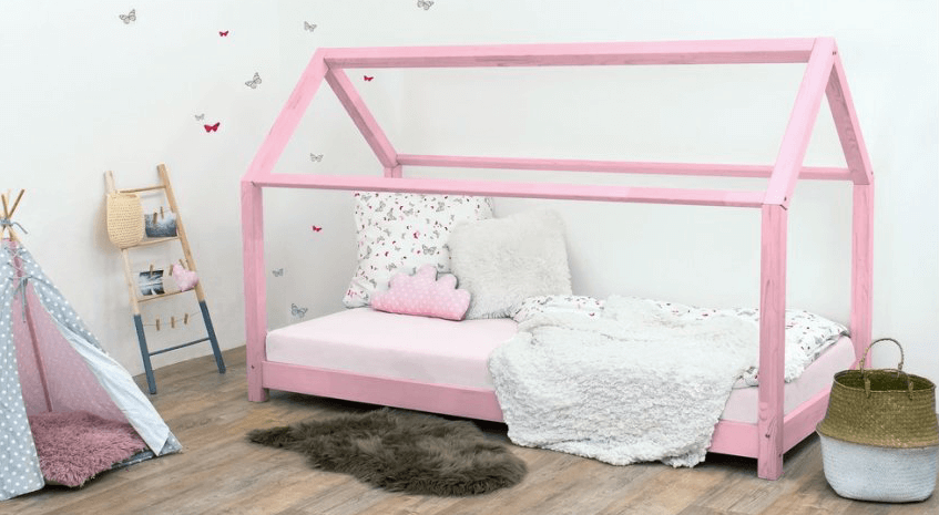 postel domeček růžový