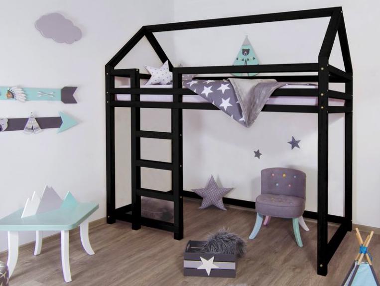 vyvýšená postel benlemi černá